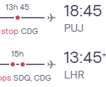 London, UK to the Dominican Republic for only £396 roundtrip (Oct-Nov dates)