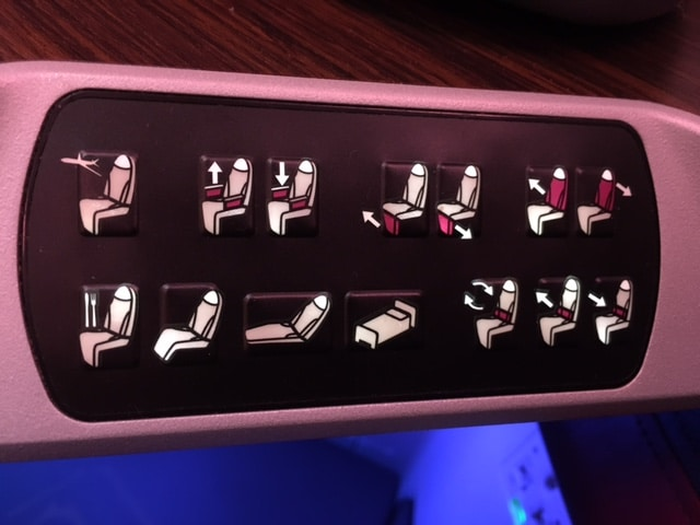 Qatar Airways A380 Business Class Einstellungsmoeglichkeiten