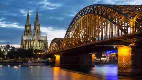 the hohenzollern bridge and cologne cathedral in the industrial and university city of cologne on in t20 WQvPaV scaled 1