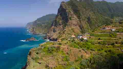 village of boaventura and the arco de sao jorge mountain range on the north coast of the portuguese t20 WK61QK scaled 1