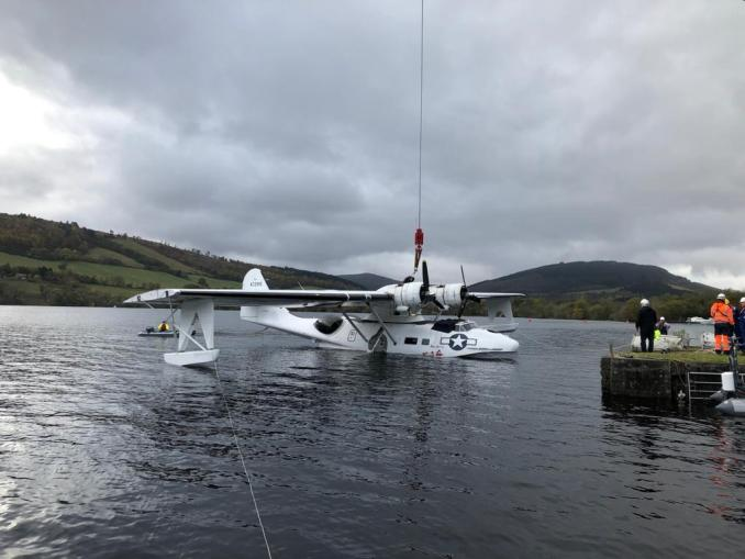 Miss Pick Up being lifted out of Loch Ness